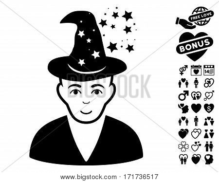 Magic Master icon with bonus decorative pictures. Vector illustration style is flat iconic black symbols on white background.