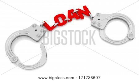 Bad loan. Steel handcuffs with red word