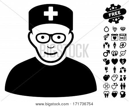 Medical Specialist icon with bonus lovely clip art. Vector illustration style is flat iconic black symbols on white background.