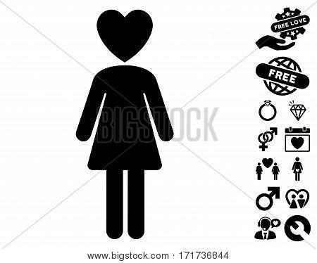 Mistress pictograph with bonus marriage symbols. Vector illustration style is flat iconic black symbols on white background.