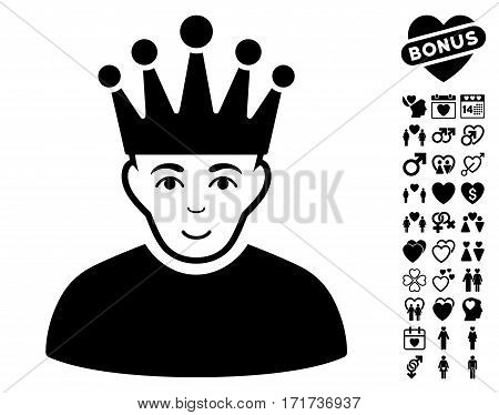 Moderator pictograph with bonus dating symbols. Vector illustration style is flat iconic black symbols on white background.