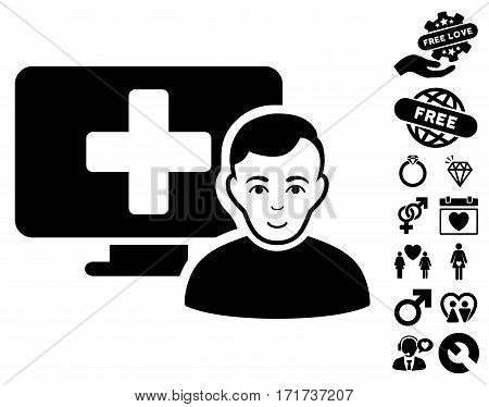 Online Medicine pictograph with bonus love graphic icons. Vector illustration style is flat iconic black symbols on white background.