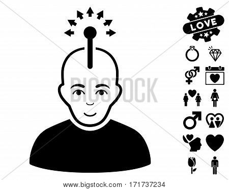 Optical Neural Interface pictograph with bonus decorative pictograms. Vector illustration style is flat iconic black symbols on white background.