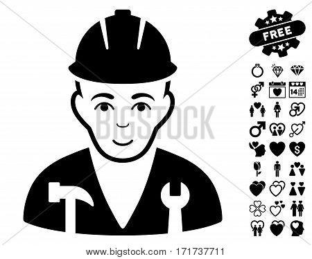 Serviceman pictograph with bonus passion icon set. Vector illustration style is flat iconic black symbols on white background.