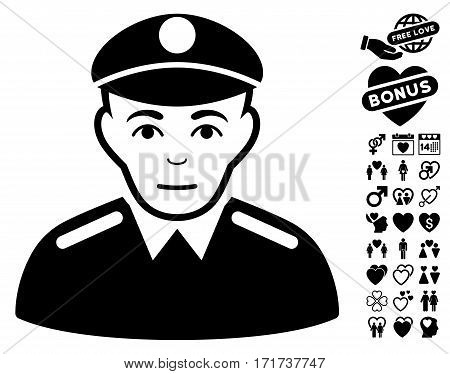 Soldier pictograph with bonus valentine clip art. Vector illustration style is flat iconic black symbols on white background.