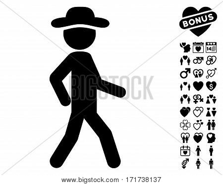 Walking Gentleman icon with bonus dating clip art. Vector illustration style is flat iconic black symbols on white background.