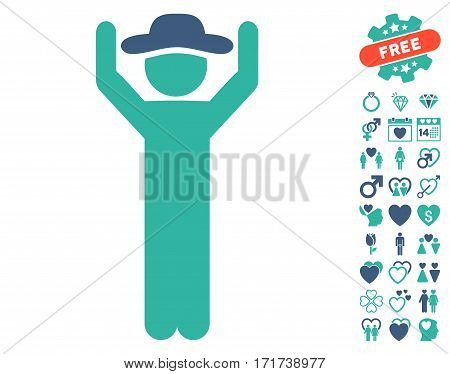 Gentleman Hands Up icon with bonus love images. Vector illustration style is flat iconic cobalt and cyan symbols on white background.