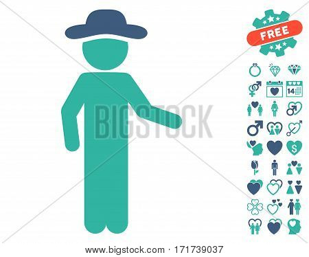 Gentleman Invitation pictograph with bonus lovely pictograms. Vector illustration style is flat iconic cobalt and cyan symbols on white background.