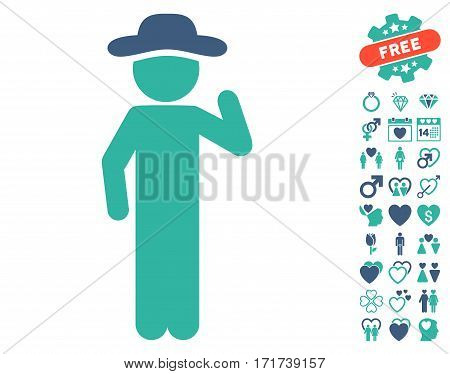 Gentleman Opinion icon with bonus passion pictures. Vector illustration style is flat iconic cobalt and cyan symbols on white background.