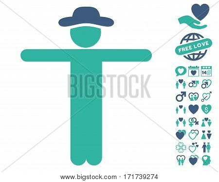 Gentleman Scarescrow pictograph with bonus amour clip art. Vector illustration style is flat iconic cobalt and cyan symbols on white background.