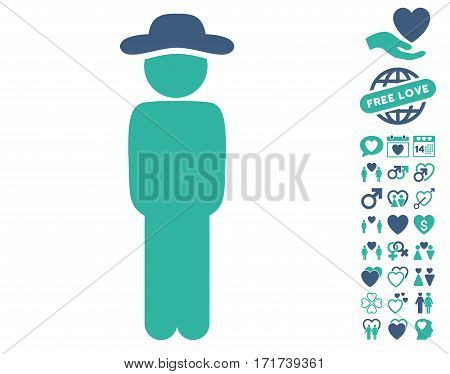 Gentleman Standing pictograph with bonus dating images. Vector illustration style is flat iconic cobalt and cyan symbols on white background.
