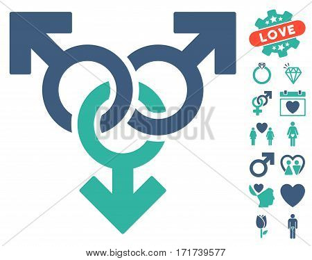 Group Gay Sex pictograph with bonus marriage pictograph collection. Vector illustration style is flat iconic cobalt and cyan symbols on white background.