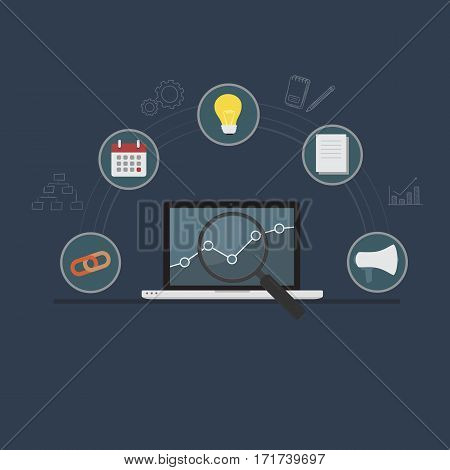 Search Engine Optimization Concept. Laptop with Graph and Magnifying Glass and flat Search Engine Optimization Icon Set
