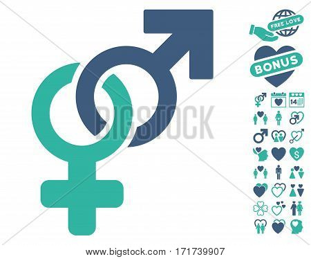 Heterosexual Symbol pictograph with bonus passion icon set. Vector illustration style is flat iconic cobalt and cyan symbols on white background.