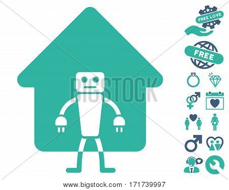 Home Robot pictograph with bonus lovely graphic icons. Vector illustration style is flat iconic cobalt and cyan symbols on white background.