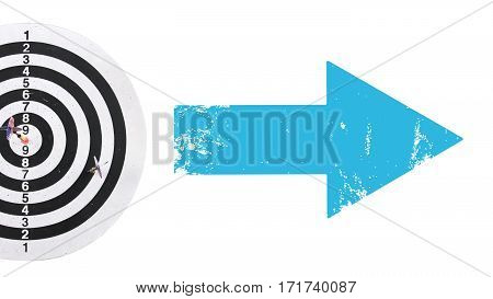 Target with target arrows and Blue arrow, white background,target and  goal,business successful execution