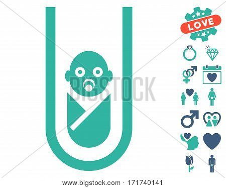 In Vitro Baby pictograph with bonus marriage pictures. Vector illustration style is flat iconic cobalt and cyan symbols on white background.