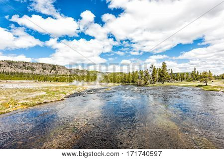 Firehole river at Grand Prismatic spring near Midway Basin in Yellowstone National park