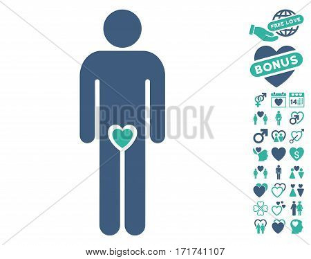 Lover Guy icon with bonus amour pictograph collection. Vector illustration style is flat iconic cobalt and cyan symbols on white background.