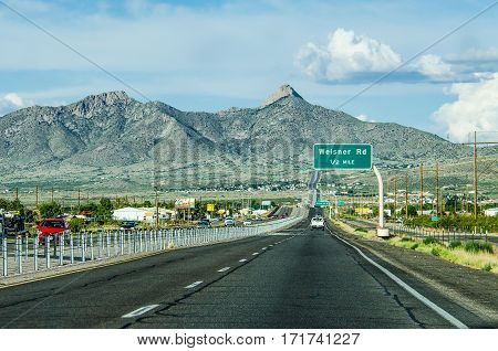 Las Cruces, United States - July 27, 2015: Highway in New Mexico with desert mountains