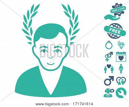 Man Glory pictograph with bonus lovely clip art. Vector illustration style is flat iconic cobalt and cyan symbols on white background.