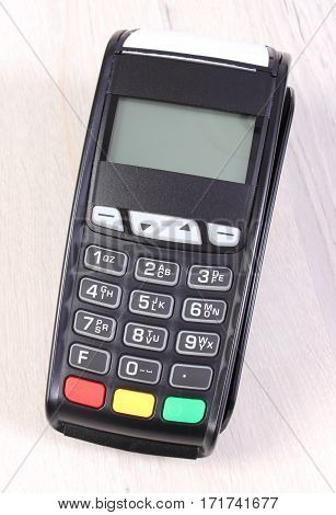 Payment Terminal, Credit Card Reader On Wooden Background, Cashless Paying For Shopping, Finance Con