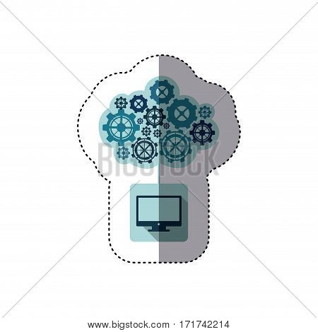 color sticker with concept of maintenance service of lcd monitor vector illustration