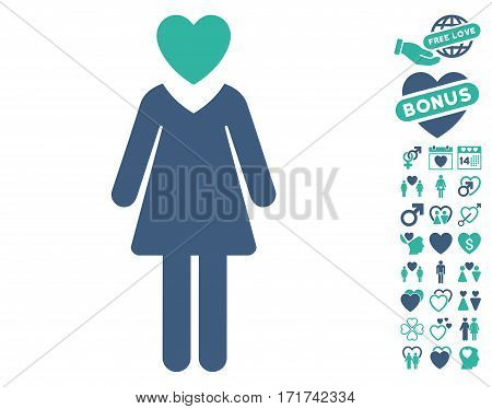 Mistress icon with bonus romantic pictograms. Vector illustration style is flat iconic cobalt and cyan symbols on white background.