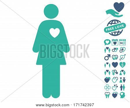 Mistress icon with bonus lovely symbols. Vector illustration style is flat iconic cobalt and cyan symbols on white background.