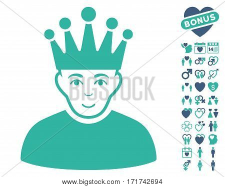 Moderator pictograph with bonus dating symbols. Vector illustration style is flat iconic cobalt and cyan symbols on white background.
