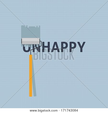 Happy. Painting a Negative Word On The Wall with Paint Roller