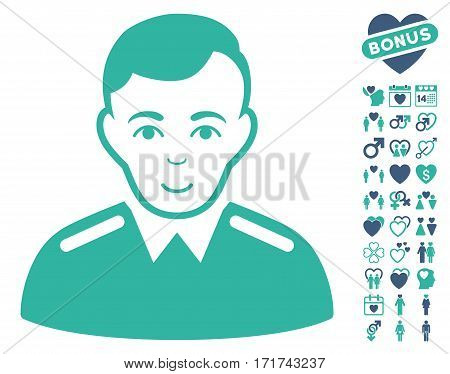 Officer pictograph with bonus love images. Vector illustration style is flat iconic cobalt and cyan symbols on white background.