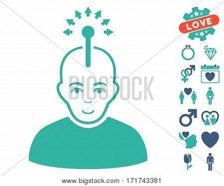 Optical Neural Interface icon with bonus valentine images. Vector illustration style is flat iconic cobalt and cyan symbols on white background.