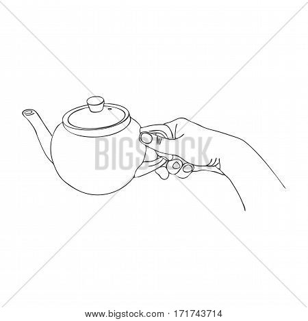 cooking hand with teapot, line drawing isolated symbol at white background