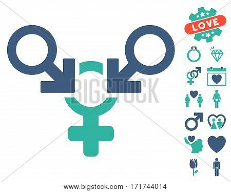 Polyandry icon with bonus dating symbols. Vector illustration style is flat iconic cobalt and cyan symbols on white background.