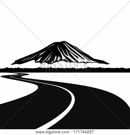 Road to Mount Fuji. The illustration on a white background.