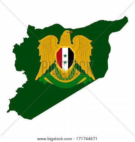 Map of the Syrian Arab Republic and the Syrian character. The illustration on a white background.