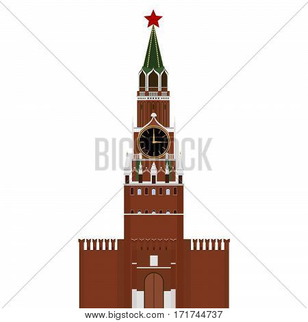 Kremlin in Moscow with star. The illustration on a white background.