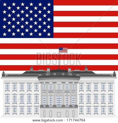 The White House on a background of the US flag. The illustration on a white background.