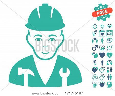 Serviceman pictograph with bonus lovely graphic icons. Vector illustration style is flat iconic cobalt and cyan symbols on white background.