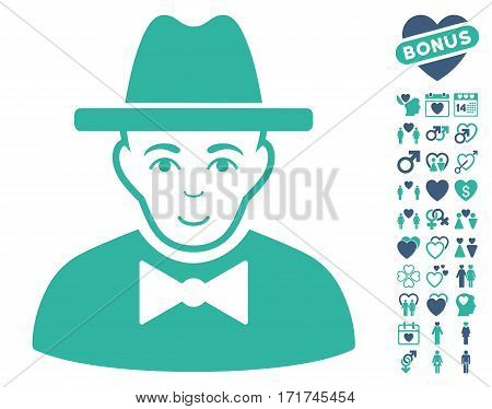 Spy icon with bonus decorative pictograph collection. Vector illustration style is flat iconic cobalt and cyan symbols on white background.