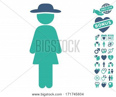 Standing Lady pictograph with bonus love pictograph collection. Vector illustration style is flat iconic cobalt and cyan symbols on white background.