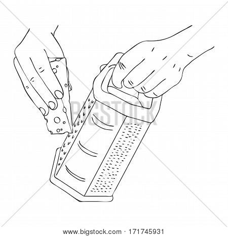 cooking hand with cheese and grater, line drawing isolated symbol at white background