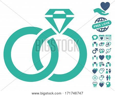 Wedding Rings With Gem pictograph with bonus amour icon set. Vector illustration style is flat iconic cobalt and cyan symbols on white background.