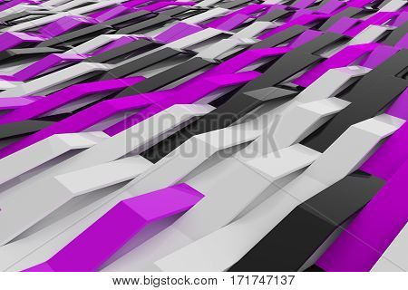 Abstract 3D Rendering Of Gloss Plastic Waves
