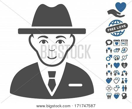 Agent pictograph with bonus valentine graphic icons. Vector illustration style is flat iconic cobalt and gray symbols on white background.