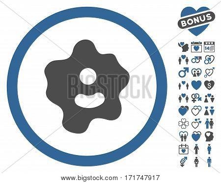 Ameba icon with bonus lovely symbols. Vector illustration style is flat iconic cobalt and gray symbols on white background.