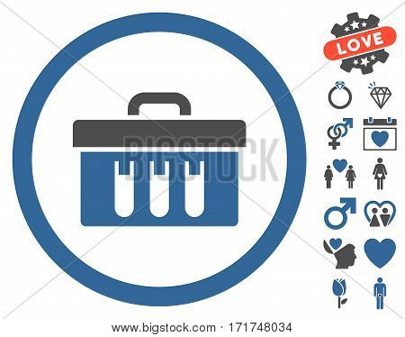 Analysis Box pictograph with bonus romantic pictures. Vector illustration style is flat iconic cobalt and gray symbols on white background.