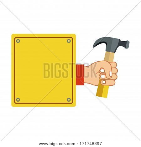 colorful silhouette plaque with hand holding hammer vector illustration