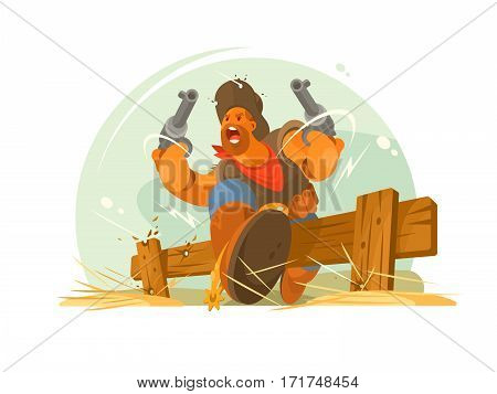 Man cowboy in hat and revolver in hand. Vector illustration